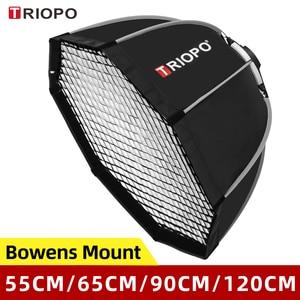 Image 1 - Triopo 55cm 65cm 90cm 120cm fotoğraf taşınabilir Bowens dağı sekizgen şemsiye Softbox + petek ızgara açık yumuşak kutu flaş