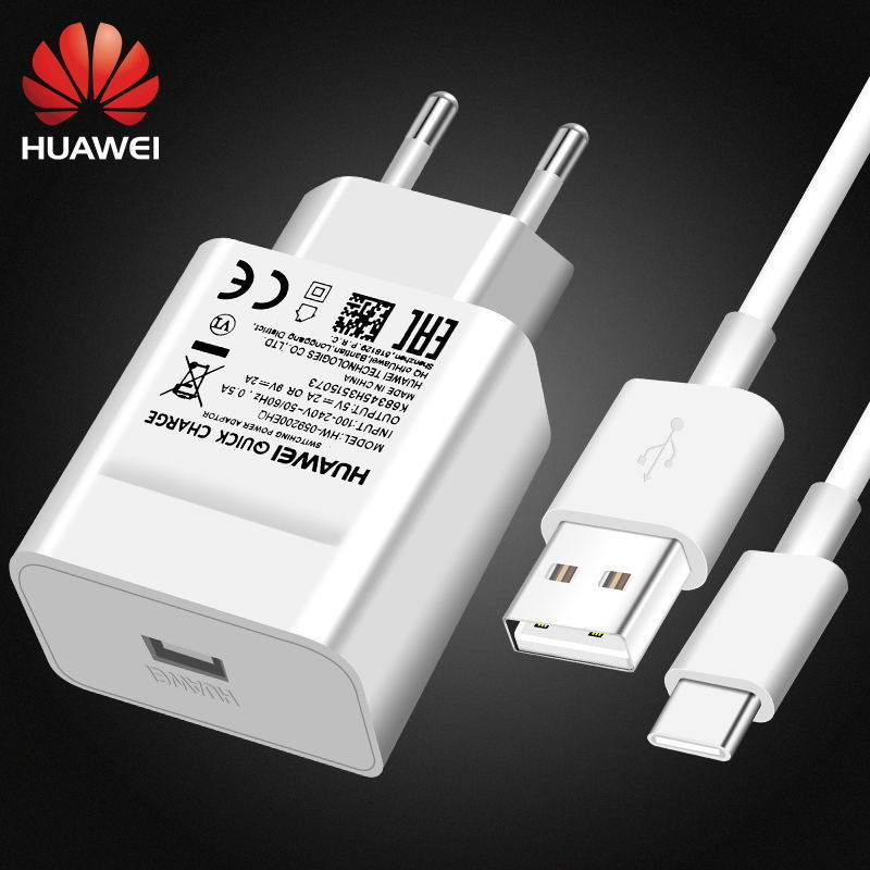 Huawei Fast charger 18W  qc 2.0 quick charge adapter Usb C Kabel Voor p20 P30pro P40pro p10 P9 Lite P8 Honor 9 8 nova 2 3i 4 V10
