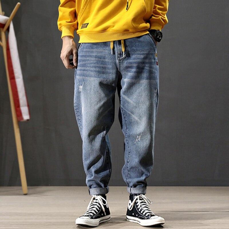 Korean Style Fashion Men Jeans High Quality Blue Color Loose Fit Harem Pants Streetwear Hip Hop Ripped Jeans Men Pencil Pants
