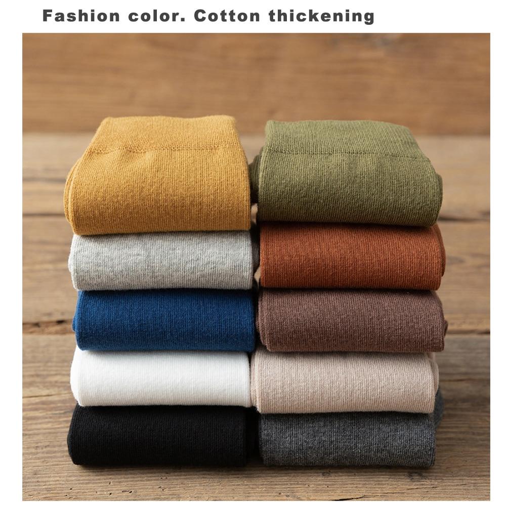 10 çift/grup yeni erkek pamuk çorap sonbahar kış iş nefes erkek ekip elbise çorap Meias renkli moda mutlu Sox sıcak