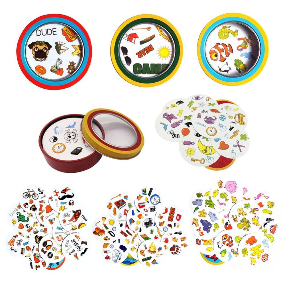 Spot Symbol Cards Game English Version Education Toys With Metal Box For Family Activities Party Enjoy It Board Game