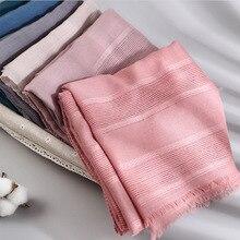 Bufanda de lino y algodón hueca para mujer, hiyab musulmán, rojo y negro, Color sólido, para la cabeza, 2020