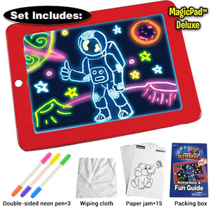 Children Drawing Tablet For Boys LED Light Luminous Drawing Board 3D Magic Pad Portable HandWriting Kids Painting Learning Tool(China)
