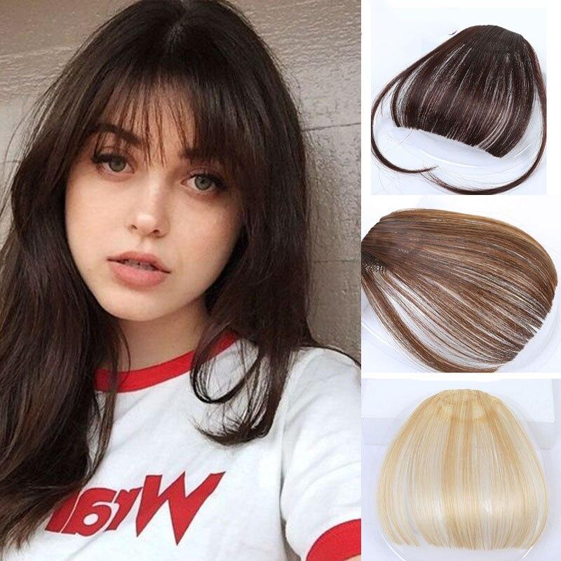 Манвэй, накладные волосы на заколках, накладные волосы с бахромой для женщин, заколки для волос с челкой, синтетические воздушные челки