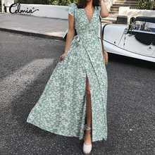 Celmia Summer Floral Print Wrap Party Dress Women Short Sleeve Long Sundress 2021 Bohemian Sexy V Neck Bandage Maxi Vestido Robe
