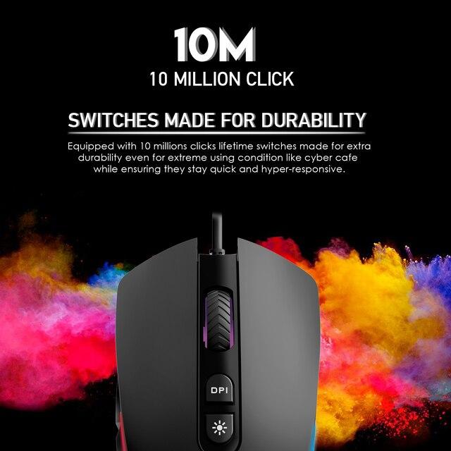 FANTECH-souris de jeu professionnelle, 4200 DPI, réglable, 6 boutons, câble Macro pour la souris, jeu de jeux, LOL, souris ergonomique