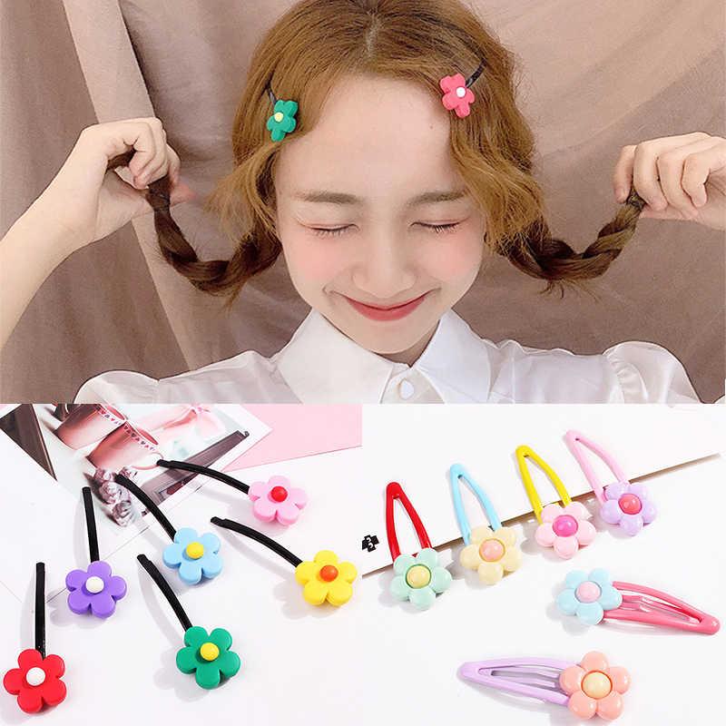 Horquillas coreanas lindas flores accesorios para el pelo de resina dibujos animados adorno de pelo para niños Color caramelo horquillas hechas a mano para niñas