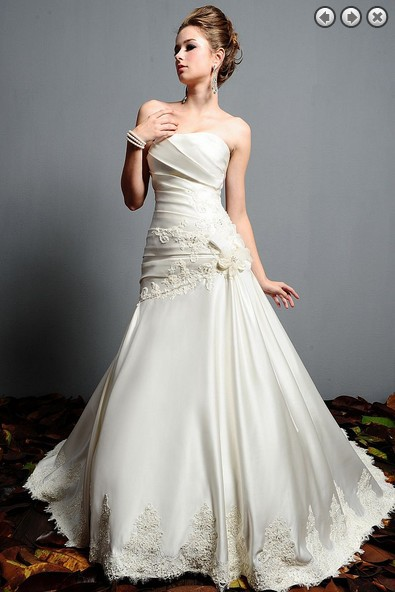 Free Shipping Zipper White 2016 New Fashion Bridal Gown Plus Size Sweetheart Lace Appliques Satin Dress Beaded Wedding Dresses