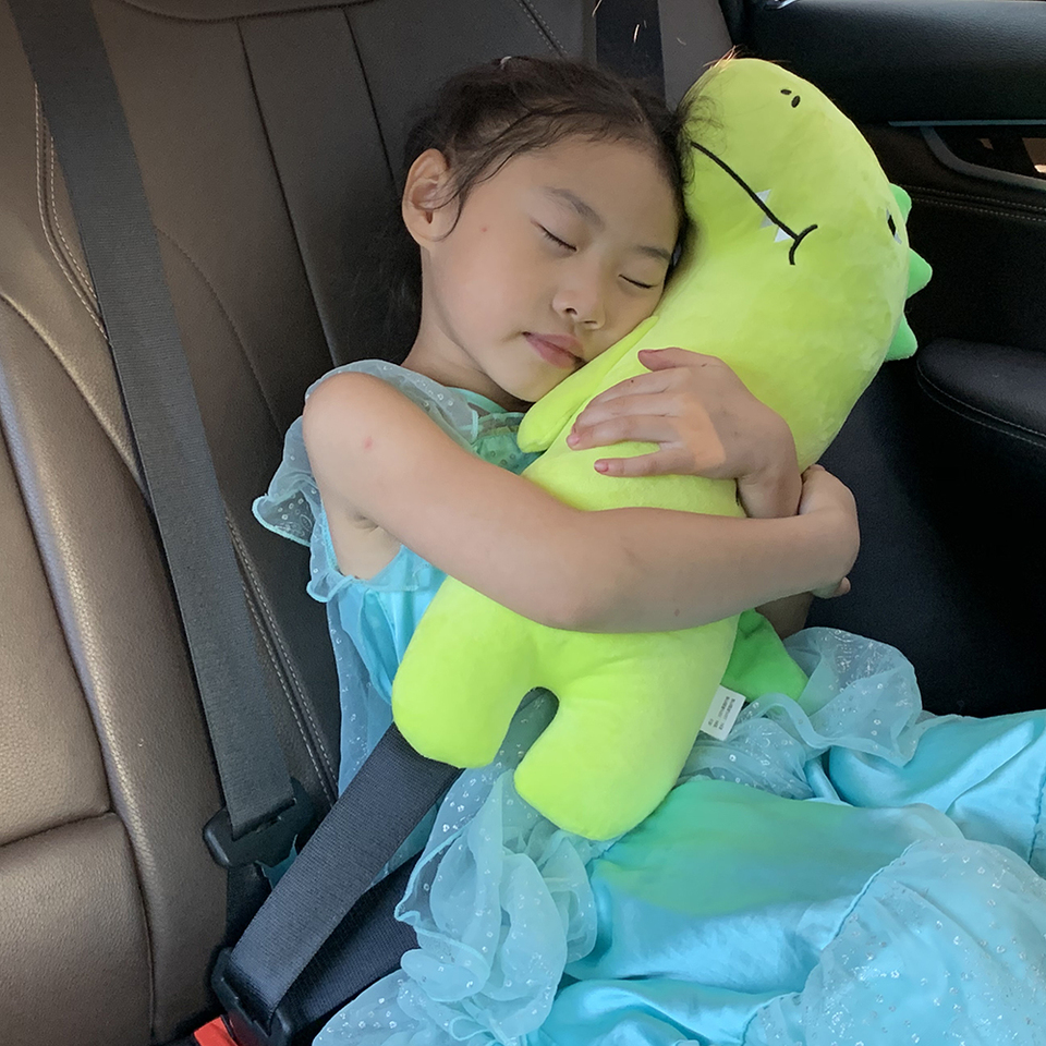 Neck Support Pillow Adjustable Seat Strap Shoulder Pads Road Trip Pillow Seatbelt Buddy Green Dinosaur L Attelia Kids Car Seat Belt Pillow for Kids