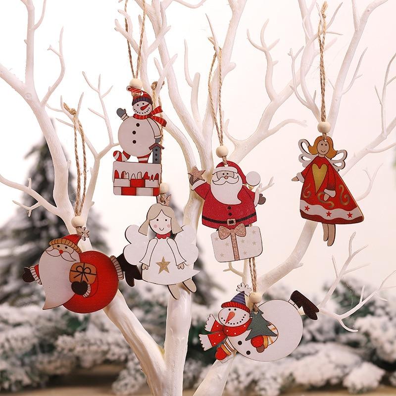 2pcs Creative Painted Wooden Santa Angel Christmas Pendant Christmas Tree Hanging Ornaments Decoration Window Display Xmas Gift