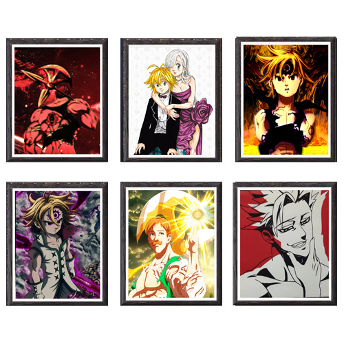 Canvas Wall Art Anime Painting Seven Deadly Sins Escanor Ban Meliodas Poster Picture Decor Artwork Gift for Children Birthday image