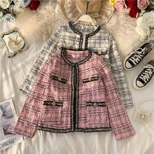 2019 Autumn Winter Korean version Women Elegant Tweed Knitted Fringe short Jackets Plaid Round neck Large size coat new coat(China)