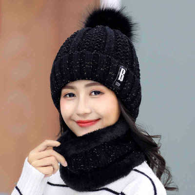 New Thick Lining Plus Velvet Winter Ladies Pompom Knit Hat Ring Scarf Sets Women Brand Beanies Hats Warm Female Ring Scarf