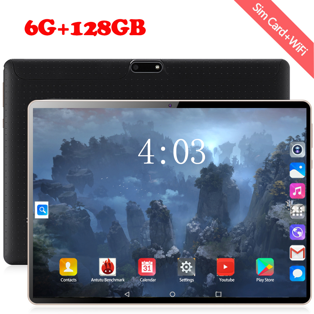 New 1280*800 IPS 10 Inch Tablet PC 10 Core Android 8.0 RAM 6GB ROM 128GB Dual SIM Card 4G Phone Tablets 2.5D WIFI Bluetooth
