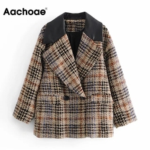 Patchwork Blazer Suit Chic Aachoae Women Elegant Coat Double-Breasted Plaid No Notched