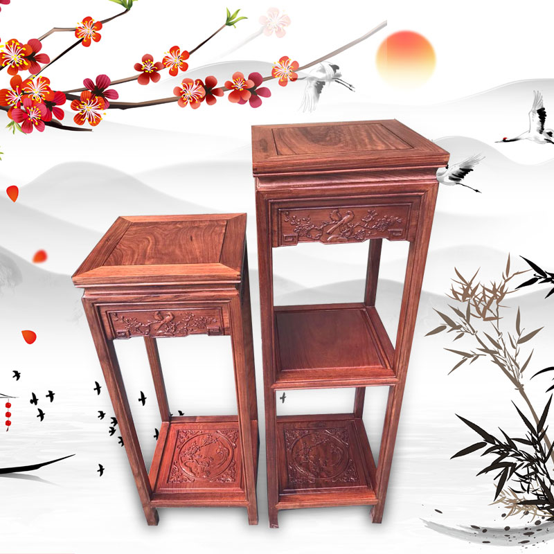 Multi-storey Redwood Padauk Simpleton Winged Wood A Living Room Single Chinese Style Flower Several Bonsai Frame Botany Frame