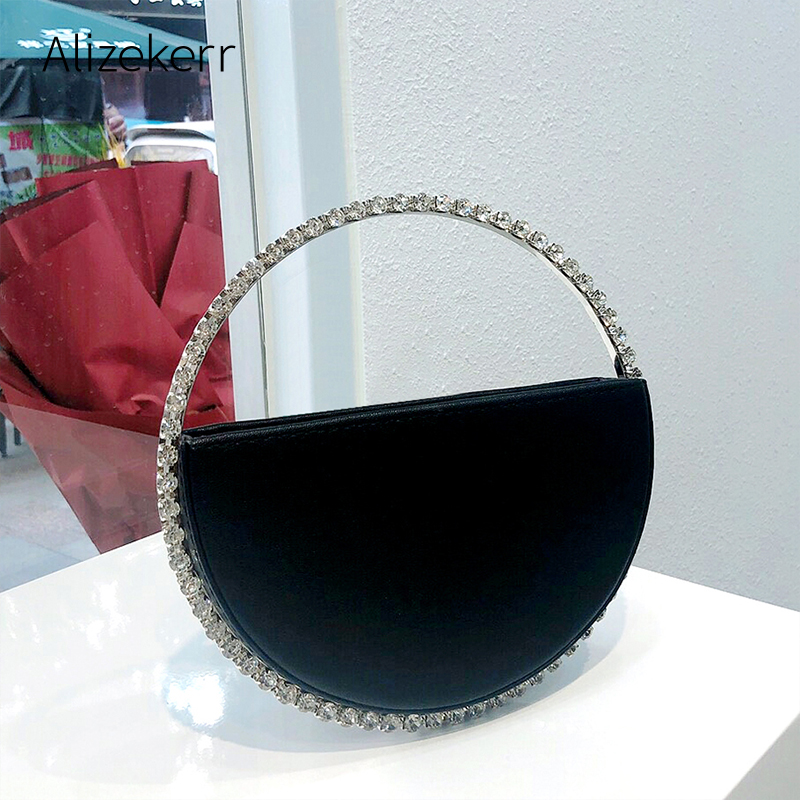 Colour Diamond Circular Evening Bag Women 2020 New Round Handle Rhinestone Dinner Clutch Purse Ladies Half Moon Handbag Fashion
