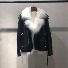 Новая женская кожаная куртка из лисьего меха на осень и зиму, двухсекционная локомотивная кожаная куртка