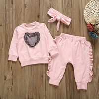 Autumn Newborn Baby Girls Clothes Outfits Love Heart Sweatshirt Tops+Ruffle Pants+Headband 3Pcs Set Toddler Girls Clothes #E