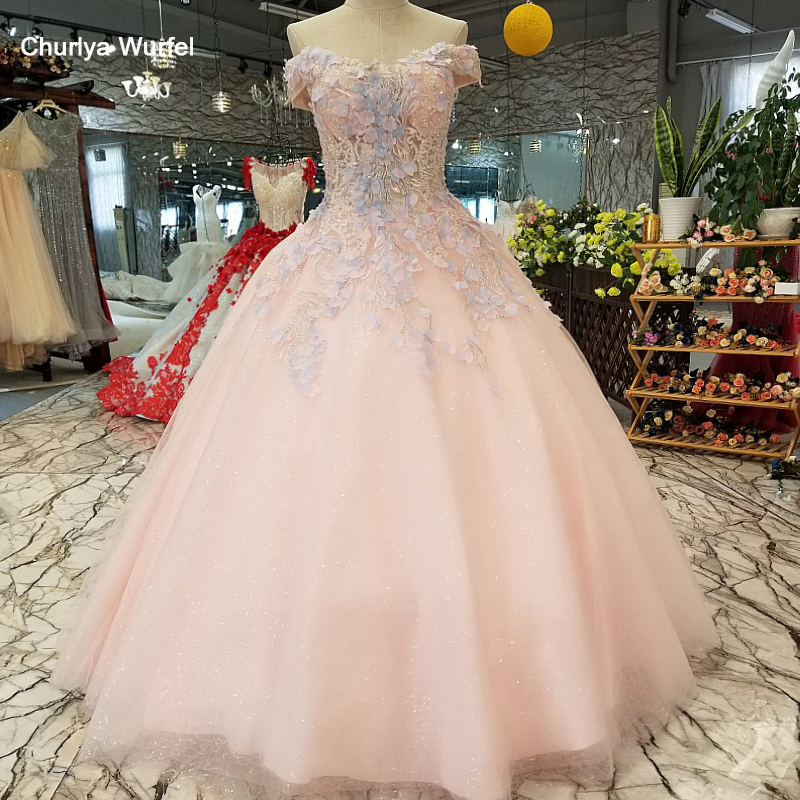 LS12145 sexy off shoulder pink   prom     dress   sweetheart lace up back simple floor lengh cheap organza evening   dress   with flowers