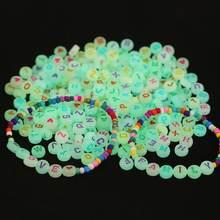 100 pçs/lote contas de letra luminosa alfabeto acrílico espaçador contas para fazer jóias diy pulseira colar artesanal contas brilho