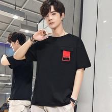 Kısa kollu tişört erkek yaz yeni yuvarlak yaka t shirt genç han baskı gelgit erkek bluzlar
