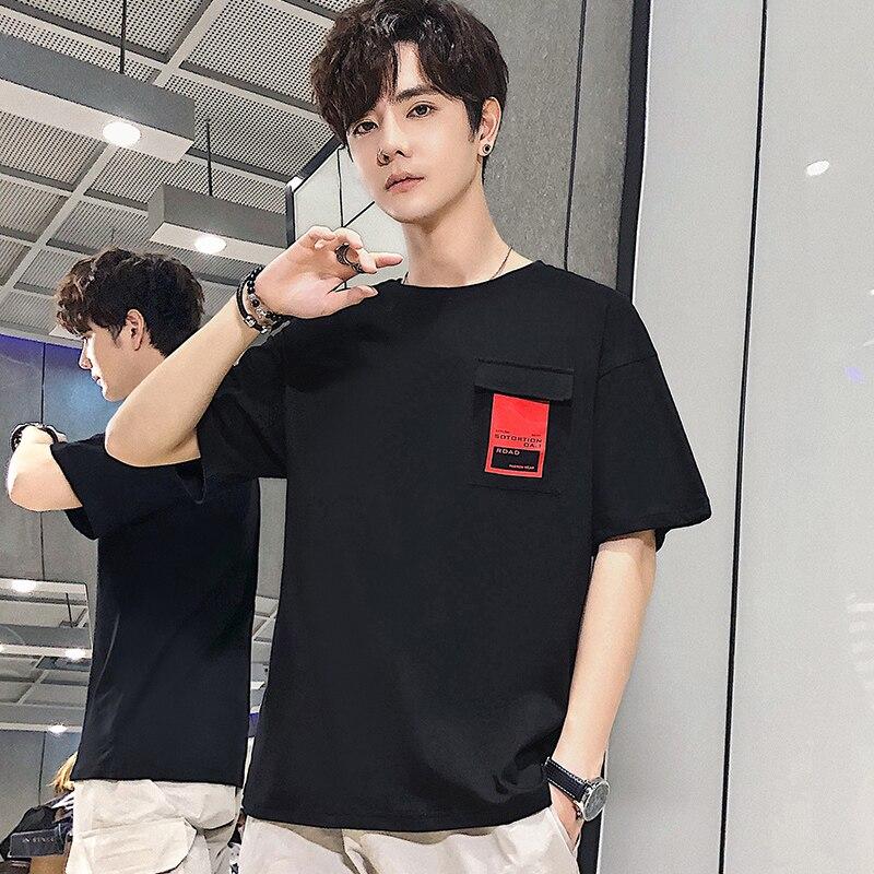T-shirt dos homens de manga curta verão nova gola redonda T-shirt jovem maré edição han dos homens blusas
