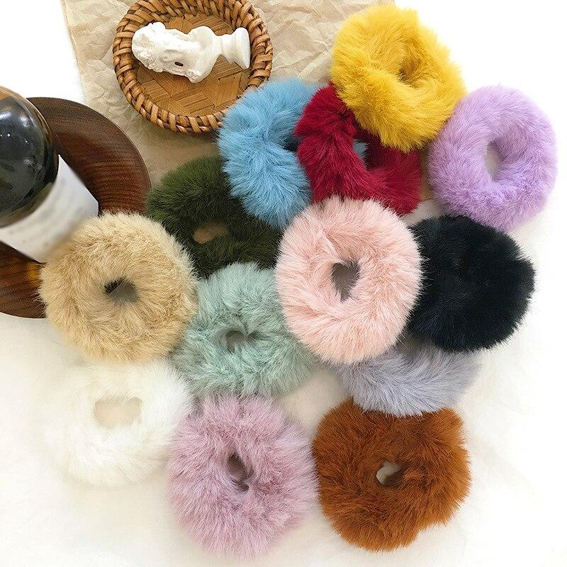 Fashion Fluffy Faux Fur Furry Scrunchie Elastic Hair Ring Rope Band Tie Round Girls Scrunchie Black Fluffy White