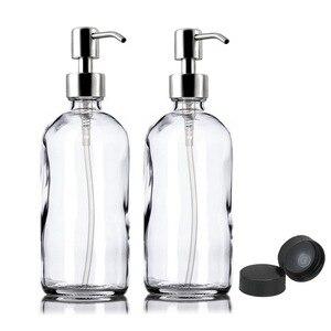 2 шт. 16 унций прозрачный стеклянный диспенсер бутылка для насоса с насосом для лосьона из нержавеющей стали для спирта антибактериальный ге...