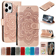 For Apple iPhone 12 Pro Max 11 8 7 Plus SE 2nd X XS XR Case Embossed Leather Wallet Stand Magnetic Card Pocket Strap Flip Cover