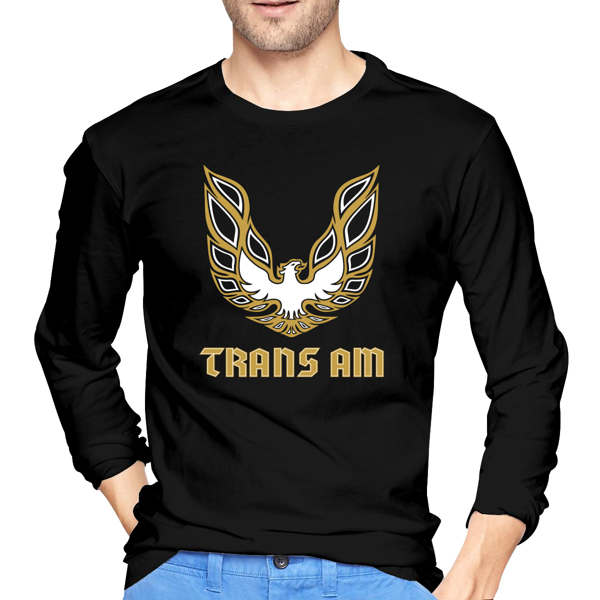 Trans Am жар с длинным рукавом Футболки, с вырезом под горло; Изготовленные из мягкой и удобной ткани, микроэластичный модный простой практичны...