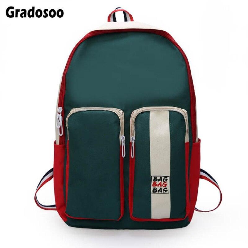 Gradosoo Fashion Backpack Women School Laptop Female Multifunctional Schoolbag For Girl Travel LBF616