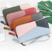 2019 New Fashion Womens Wallets Simple Zipper Purses White Gray Red Splice Long Section Clutch Wallet Soft PU Leather Money Bag long section mini wallet men 2017 manbang fashion casual pure cowhide simple zipper clutch wallets black mbq2674ah