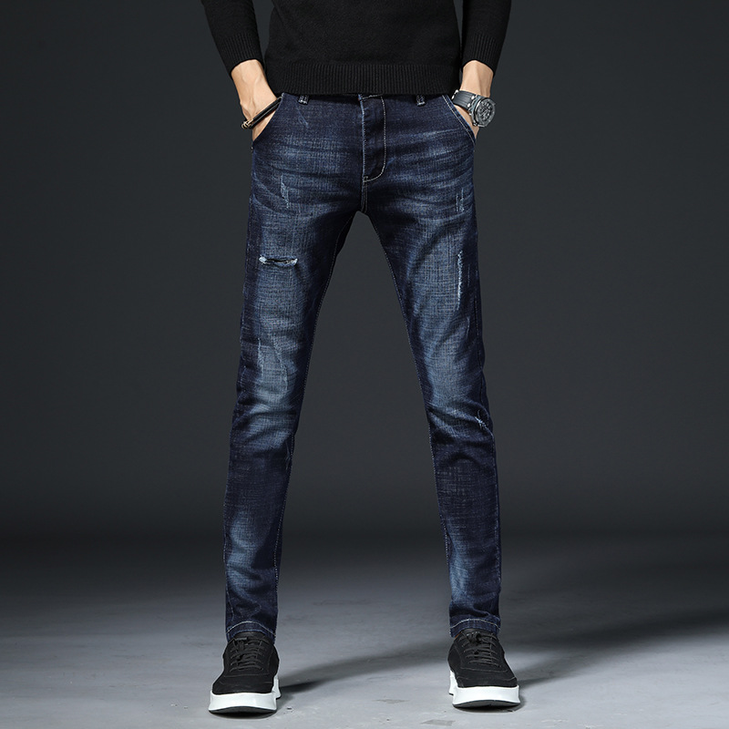Autumn And Winter New Style Casual Denim Cotton Elastic-Straight Slim Jeans Men's Skinny Straight-Cut MEN'S Trousers
