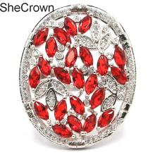 31x25mm Charming Red Blood Ruby White CZ Womans Party Silver Ring