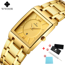 WWOOR Fashion Square Mens Watches Top Brand Luxury Gold Quartz