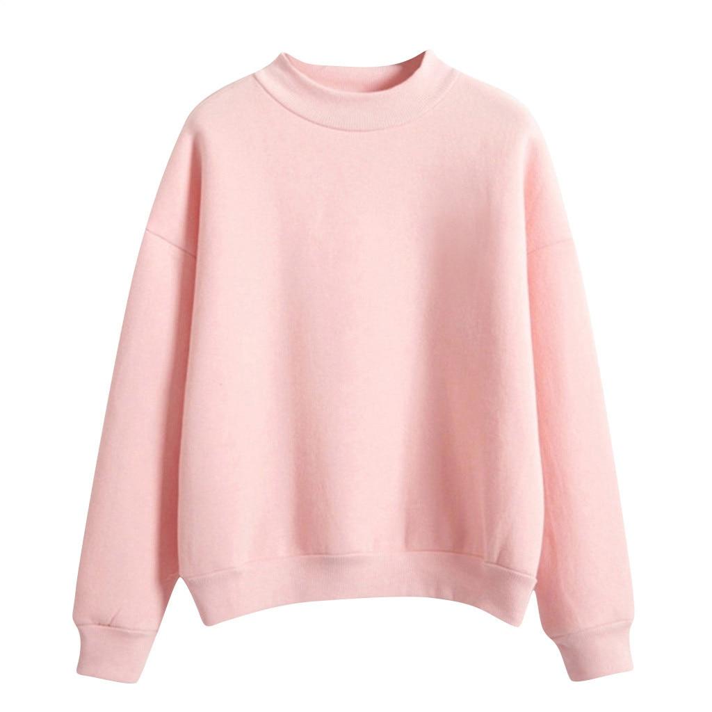 Velvet Women Sweatshirt Autumn Harajuku Style Lovely Solid Color Fleece Winter Hoodies Turtleneck Pastel Colors Jumper Tracksuit 7