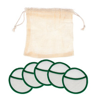 5Pcs/bag Reusable Bamboo Cotton Make Up Remover Pad Washable Rounds Facial Cleansing Pads Face Wipes Portable with Laundry Bag 3