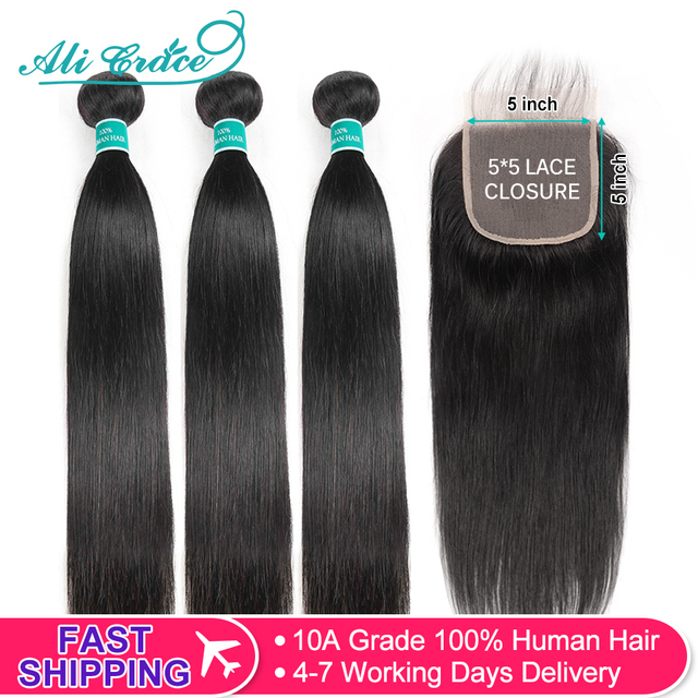 $ US $81.02 Ali Grace Hair Brazilian Straight 5x5 Closure With 3 Bundles Human Hair 100% Remy Hair Middle and Free Part