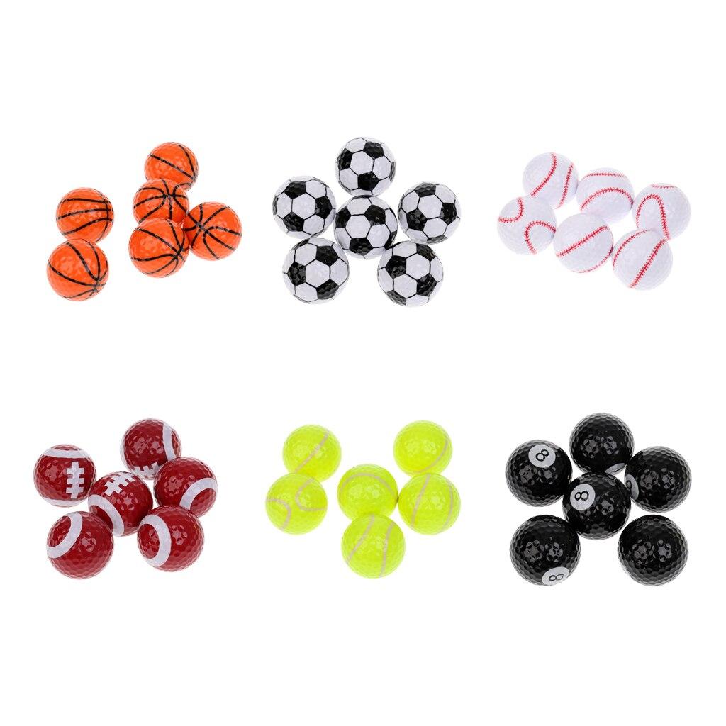 6 Pieces/Set Sport Balls Pattern Novelty Golf Balls Practice Balls Golf Accessories Golfer Gift