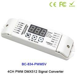 4CH DMX512 sterownik led kontrolera PWM 5V/PWM 10V sygnał DMX512 konwerter sygnału 3 cyfrowy wyświetlacz pokazuje DC12V-DC24V