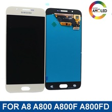 цена на For Samsung Super AMOLED LCD Galaxy  A8 A800 A8000 A800F LCD Display Touch Screen Digitizer Assembly With Brightness Adjustment