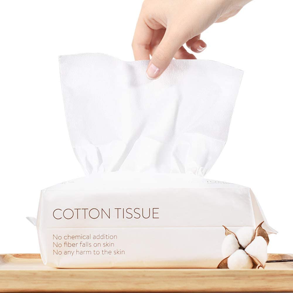 CHUSE Cotton Tissue Dry Baby Wipes Soft Dry Wipes Disposable Face Towels Makeup Removing Portable (50 Tissues A Pack)