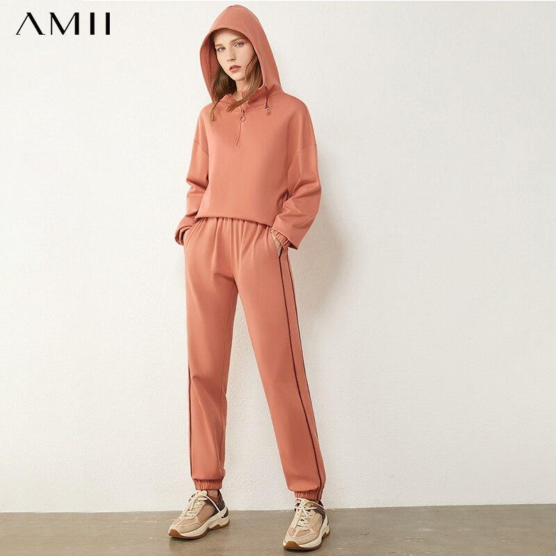 Amii-traje de algodón deportivo para mujer, Sudadera con capucha de lana, informal, con cintura elástica, holgado, para otoño e invierno, 12030276