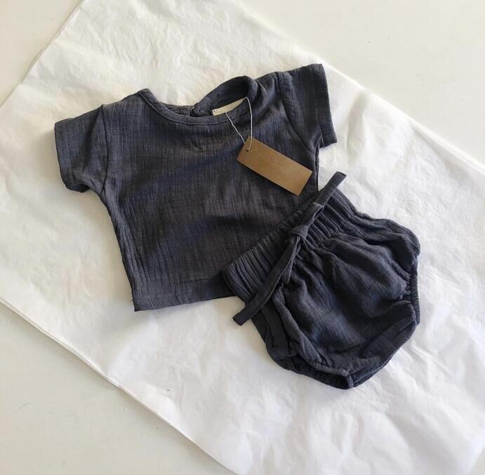 Комплект повседневной одежды из 2 предметов для малышей, топы и шорты из льна с коротким рукавом, популярные штаны для малышей, 2019