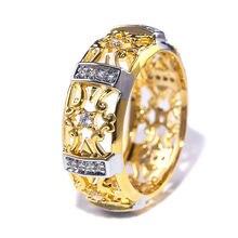 Ustar Ретро стиль полый цветок золотые кольца для женщин блестящий