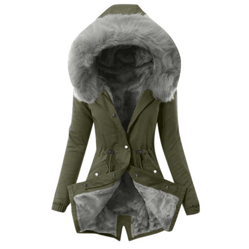 클래식 여성 자 켓 가짜 모피 후드 슬림 겨울 코트 여성 파 카 블랙 솔리드 새 캐주얼 따뜻한 코 튼 여성 코트 Outwear DR2395