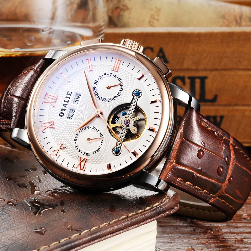 Fashion Hollow Watch Men's Multifunctional Automatic Machine Core Waterproof Genuine Brown Leather Belt Watch