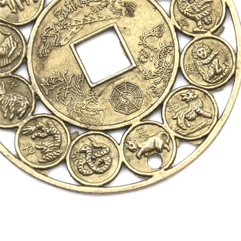12 Zodiacal Animals Corresponding To The 12 Terrestrial Branches Feng Shui Copper Money Coin Auspicious Coin Wedding Decoration image