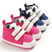 Обувь с рисунком панды для маленьких мальчиков и девочек, сникерсы на мягкой подошве, Нескользящие кроссовки для новорожденных и малышей 0-18 месяцев